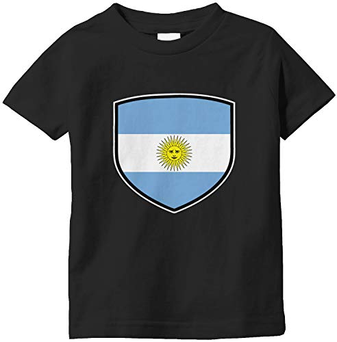 Amdesco Argentina Shield Argentine Flag Infant T-Shirt, Black 6 Month