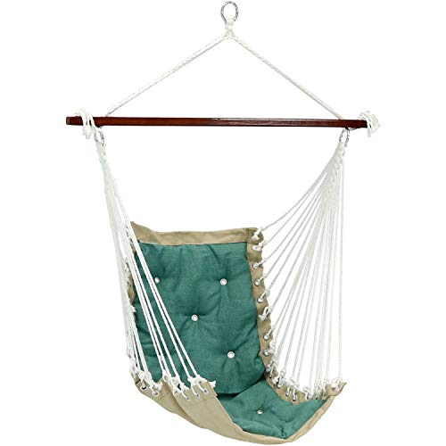- Sunnydaze Tufted Victorian Hammock Chair Swing, Indoor or Outdoor Hanging Seat, Sturdy 300 Pound Weight Capacity, Sea Green