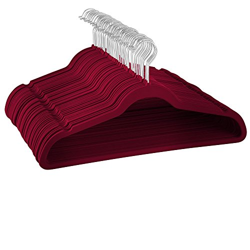 Exclusive Velvet Jacket - ZOBER Premium Quality Space Saving Velvet Hangers Strong and Durable Hold Up to 10 Lbs - 360 Degree Chrome Swivel Hook - Ultra Thin Non Slip Suit Hangers - (Burgundy, 100 Pack)