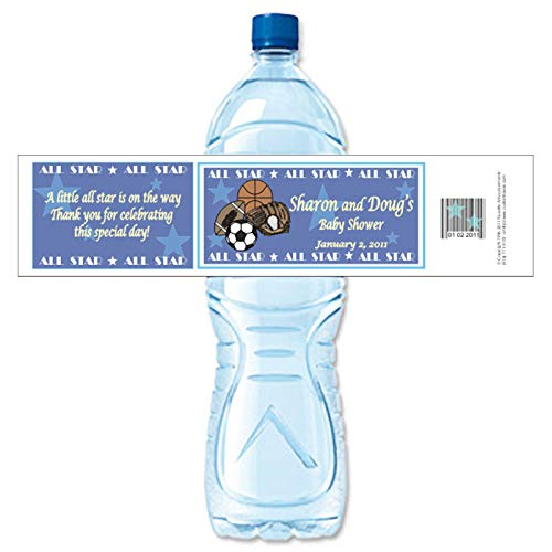 Amazon com: All Star Baby Shower Water Bottle Labels