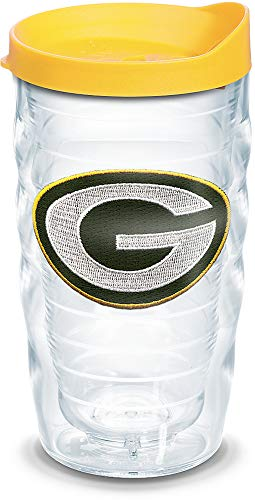 Tervis 1129358 NFL Green Bay Packers Primary Logo Tumbler with Emblem and Yellow Lid 10oz Wavy, Clear