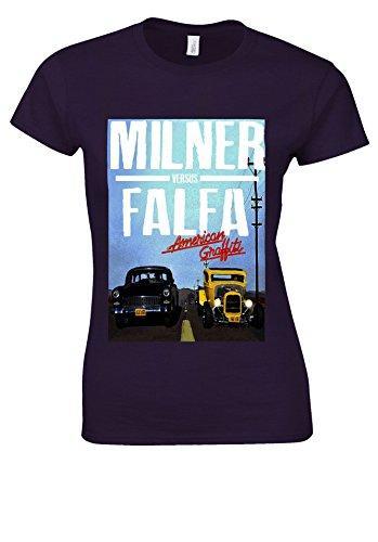 水平平和的好ましいMilner vs Falfa '55 Chevy vs Deuce Coupe American Graffiti White Women T Shirt Top