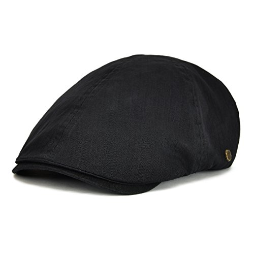 Flat Cap Ivy Hat - VOBOOM Ivy caps Herringbone Cotton Flat caps Light Newsboy caps Cabbie Hat (Black)