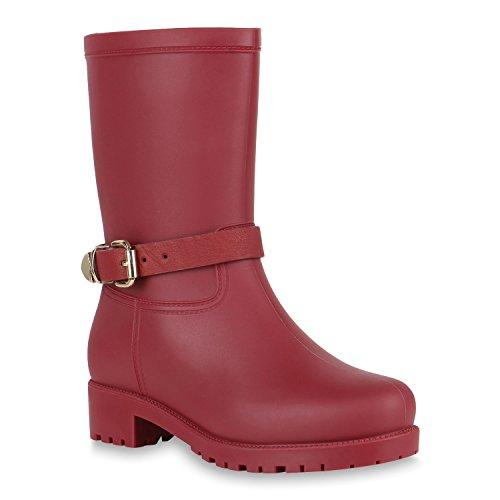 Rockige Damen Stiefeletten Gummistiefel Profilsohle Wasserdichte Boots Stiefel Gumistiefeletten Lack Damenschuhe Nieten Flandell Dunkelrot