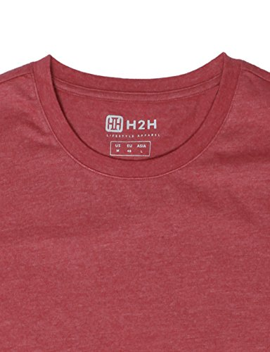 H2H Mens Business & Daily Item Fine Soft Cotton Crew Neck T-Shirt Maroon US S/Asia M (CMTTS0198) by H2H (Image #5)
