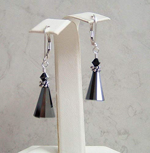 Dark Grey Cone Sterling Silver Leverback Earrings Simulated Hematite Made With Swarovski Crystals Gift Idea