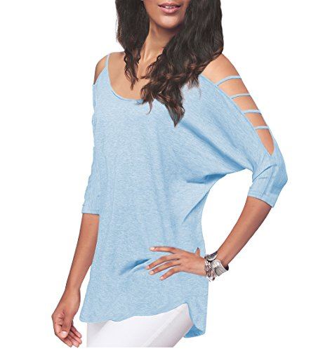 (iGENJUN Women's Casual Loose Hollowed Out Shoulder Three Quarter Sleeve Shirts,XL,Light Blue)