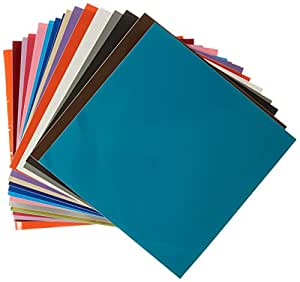 """Vinyl Ease 12"""" x 12"""" 60 Sheets Assorted Glossy Colors Permanent Adhesive Vinyl for Cricut, Silhouette, Pazzles, Craft ROBO, QuicKutz, Craft Cutters, Die Cutters, Sign Plotters - V0102"""