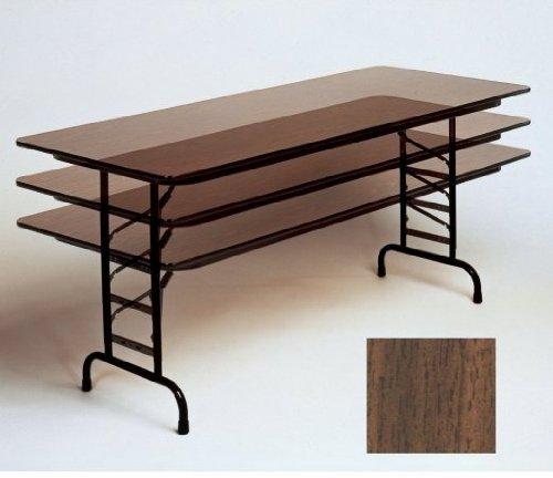 Correll Melamine Walnut - Correll CFA2460M Adjustable Height Melamine Top Folding Table, WALNUT