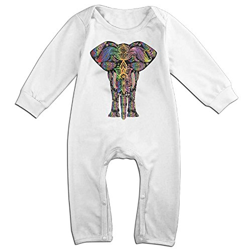 [HOHOE Boy's & Girl's Colorful Pattern Elephant Long Sleeve Jumpsuit Outfits 12 M] (Dwayne Johnson Baby Costume)
