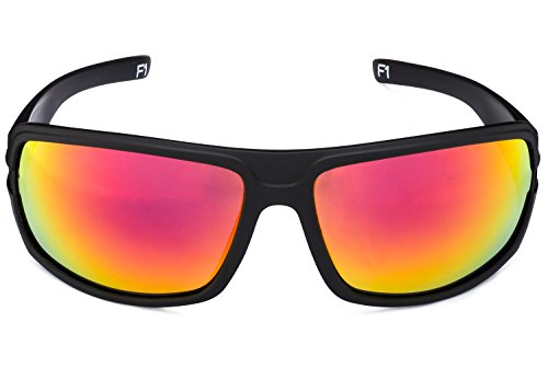 STRIYKER F1 Polycarbonate Polarized Sunglasses -100% UV 400 Protection- TR90 Universal Fit Memory Frame- Ultra Lightweight - Extremely Durable (Matte Black (Red REVO)) by STRIYKER Premium Eyewear (Image #1)