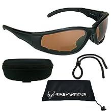 Blue Blocker HD Lens Motorcycle Bifocal Sunglasses +1.50 Eva Padded with Nylon Water Resistant Zipper Clip Hard Case & Strap