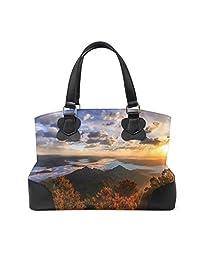 LORVIES Sun Shining Over Mountains Top Handle Shoulder Bag PU Leather Cross-body Bag