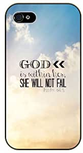 God is within her, she will not fail - Psalm 46:5 - Clouds sky - Bible verse iPhone 4/ 4s black plastic case / Christian Verses by ruishername