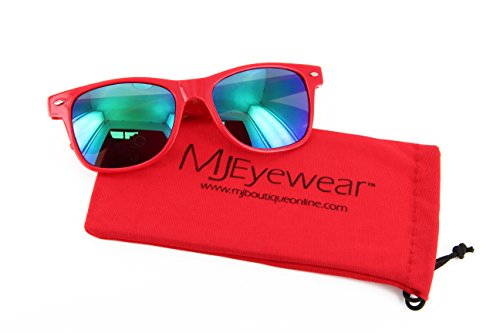 MJ Eyewear Neon Retro Sunglasses Color Mirror Lens (Red, Color Mirror - Wayfayer Sunglasses