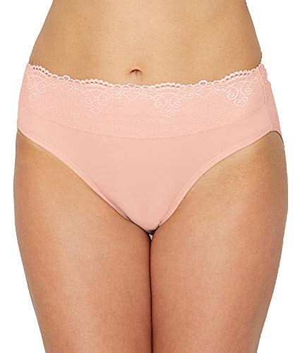 Bali Smooth Passion for Comfort Lace Hi Cut Brief, 7, Sheer Pale Pink