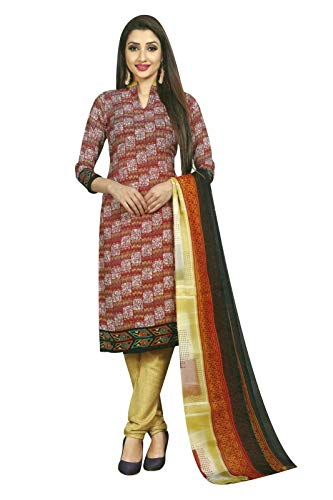 Ready to wear French Crepe Printed Salwar Kameez Suit Indian Pakistani Dress (Size_44/Maroon)
