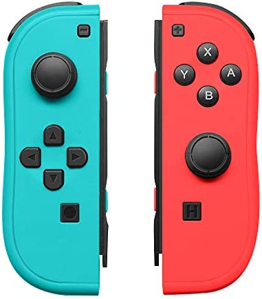 Joy-Pad Controller Compatible with Switch Joycon,Left and Right Controllers with Straps Support Wake-up Function(Blue and Red)