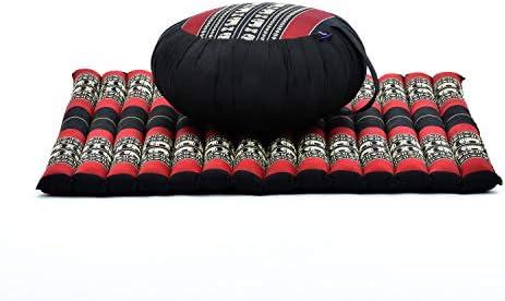 Leewadee Set de meditación: Almohada Redonda de Zafu y cojín de Suelo Cuadrado Grande de Zabuton Orgánico Naturalmente Ecológico, Capok