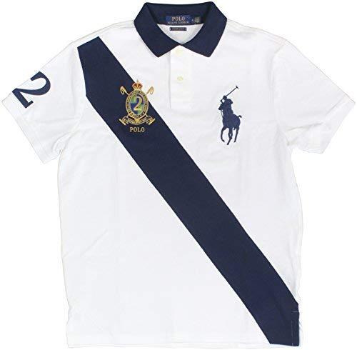 Custom Fit Crest Polo - Polo Ralph Lauren Mens Custom Fit Big Pony Banner Polo Shirt (Large, White Mu)