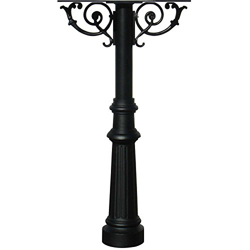 Hanford Rust Free Cast Aluminum Mailbox Post with Fluted Base and Scroll Supports to Mount 2 Mailboxes