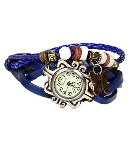 Renaissance Traders White and Blue Analogue Leather Bracelet Watch
