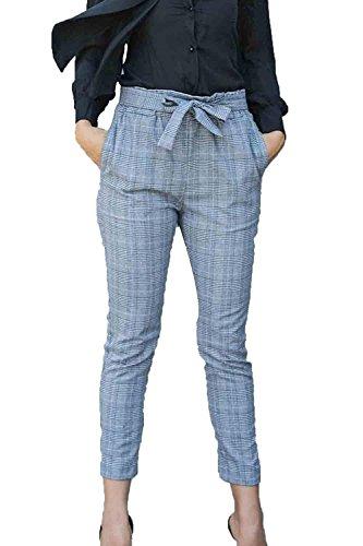 Plaid Crayon Élastique Printemps Classique Fille Mode Longue Femmes Élégant Fit Lacets À Taille La Gris Haute Parti Spécial Slim De Pantalon pqrpwS