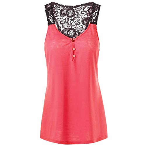 Women Lace Patchwork Backless Button Blouse Top Sleeveless Vest Long Sleeve T Shirt Cami Shirt Tank Scoop Neck Plus Size Red