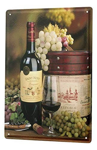 Tin Sign 8X12 inches Wine Glass Bottle Wine Grapes