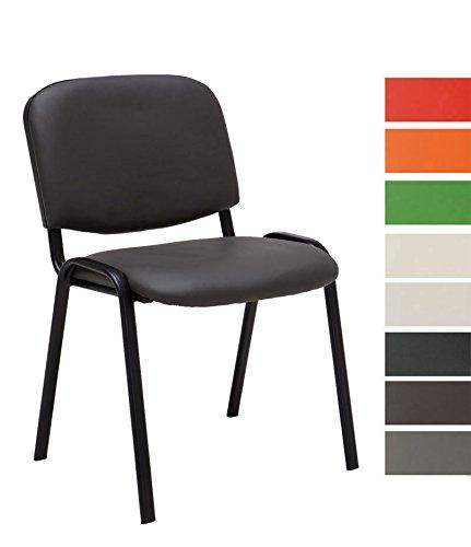 CLP stapelbarer Besucher-Stuhl / Stapelstuhl KEN Kunstleder, preiswert, robust, einfach bequem grau