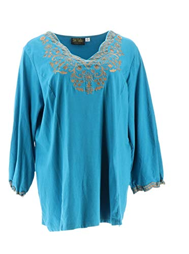 Bob Mackie Embroidered Scalloped Neckline Knit Tunic Turquoise XL New A310805 Bob Mackie Embroidered Blouse