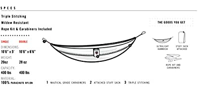 Grand Trunk Double Parachute Hammock Heritage, One Size
