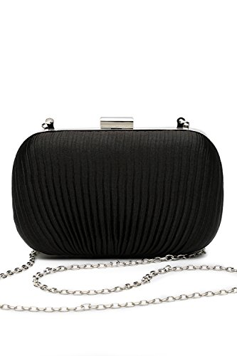 Shoulder Straps Satin (Women Clutch Purse Wallet Hard Case Satin Evening Bag Handbag With Chain Strap (black))
