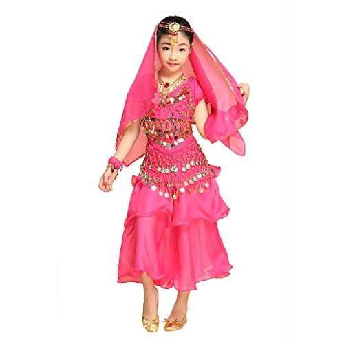 Pilot-trade Girl Belly Dance Costume 3 Layers Skirt Hip Scarf Veil Sets ( Dark Pink , L )