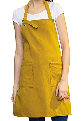VANTOO Art Apron- Canvas Apron for Painting Shop Garden with Pockets for Women Men Chef Craftsmen Painter Artist,Yellow