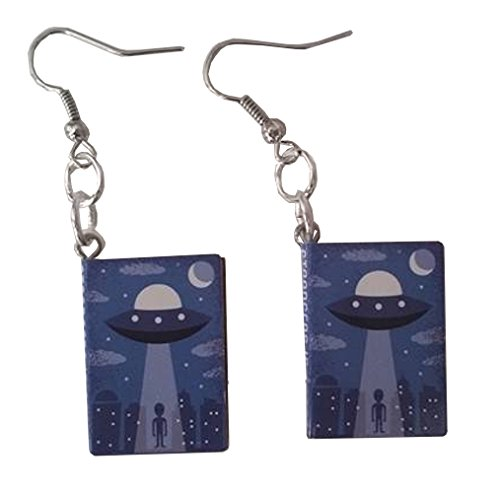 [Alien Spaceship Story Book Dangle Earrings] (Homemade Space Alien Costume)