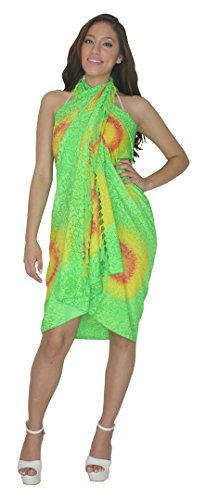 [Sarong Bathing Suit Swimsuit Swimwear Beach Bikini Cover up Printed Pareo wrap Printed Neon Green Free Size One Size Spring Summer] (Black Toga Dress)