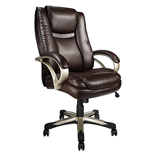 - Realspace BTEC 600 Bonded Leather High-Back Big & Tall Chair, Brown
