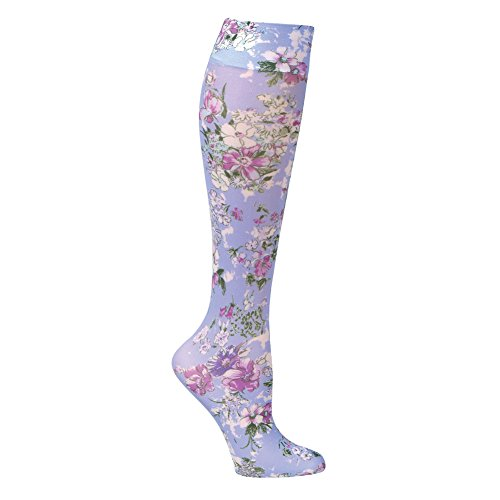 Women's Printed Mild Compression Wide Calf Knee Highs - Periwinkle Bouquet