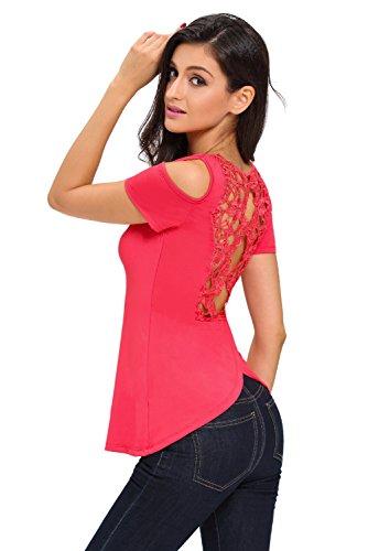 Nouveau rouge Crochet Dos froid épaule Blouse à manches courtes de soirée pour femme Tenue décontractée dété Taille UK 12EU 40