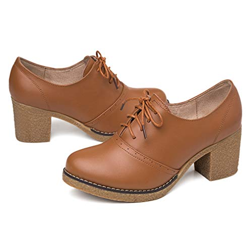 a4281e970948 Women s Leather Oxfords Shoes Brogue Wingtip Lace up Dress Shoes Chunky Mid  Heel Pumps
