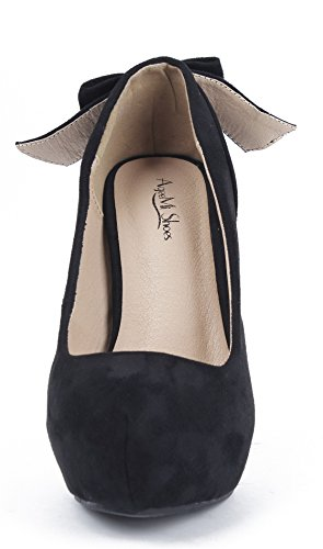 AgeeMi Shoes Women Court Shoes Spikes Stilettos Slip On Suede Pumps With Bowknot Black L7kAhBeis9