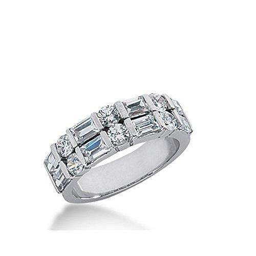 950 Platinum Diamond Anniversary Wedding Ring 6 Round Brilliant, 8 Straight Baguette Diamonds 1.96ctw 294WR1340PLT - Size (Baguette Diamond Platinum Wedding Band)