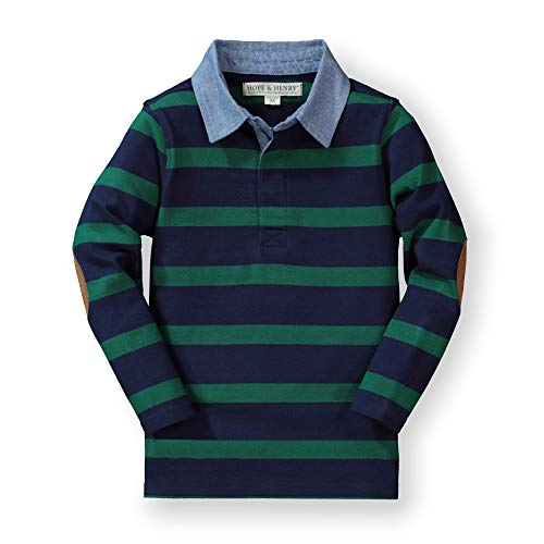 - Hope & Henry Boys' Blue and Green Striped Long Sleeve Rugby