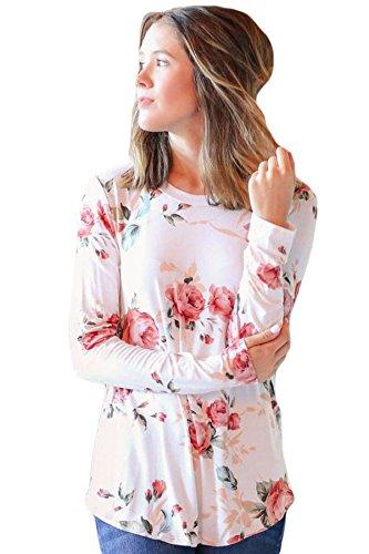 Neuf Blanc floral Automne à manches longues Blouse de soirée pour femme Tenue décontractée d'été Taille UK 14EU 42