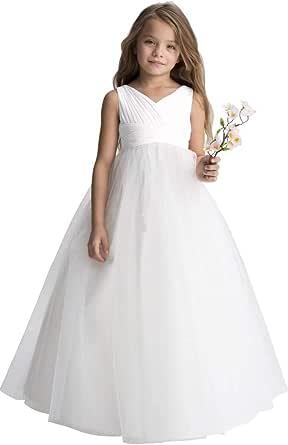 Gdoker Chiffon Tulle Flower Girl Dress Ivory, Wedding Pageant Dresses for Girls, Fancy Junior Bridesmaid Dress A-Line