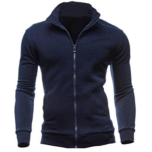 Price comparison product image Men Fall Winter Casual Sports Cardigan Zipper Sweatshirt Jacket Coat (Navy,  XL)