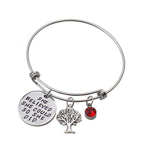 Aoloshow Inspirational Wire Bangle Bracelet Charms Gifts for Women Girls Plus Birthstone and 13 Optional Charms