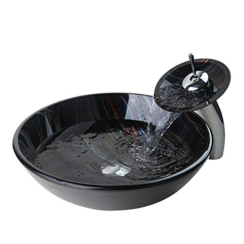 Glass Wash Bowl Vessel Sink & Chrome Bathroom Faucet Finish Combo Set Come With Pop Up Drain Black Color with Stripe