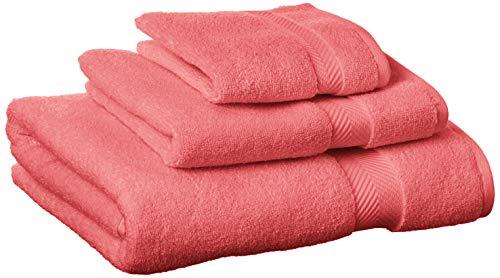 Superior Zero Twist 100% Cotton Bathroom, Super Soft, Fluffy, and Absorbent, Premium Quality 3 Piece Set with Washcloth, Hand, Bath Towel, Coral